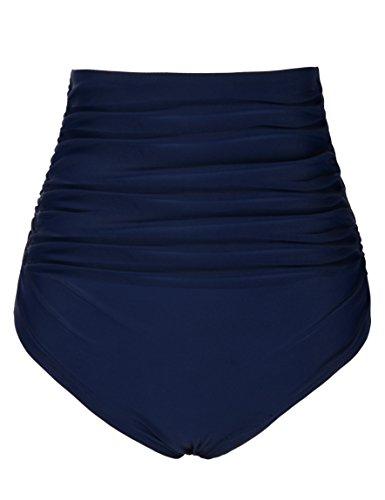 (Firpearl Women's Retro Solid High Waist Ruched Bikini Bottom Swim Brief US16 Navy)