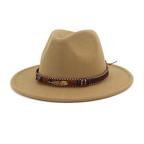 Vim Tree Men Women Ethnic Felt Fedora Hat Wide Brim Panama Hats with Band Camel L (Hat Circumference 22.8