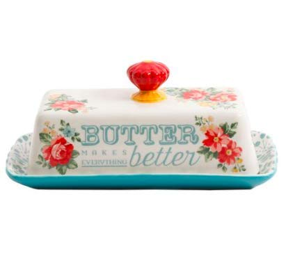 The Pioneer Woman Vintage Floral Butter Dish Stoneware The Pioneer Women