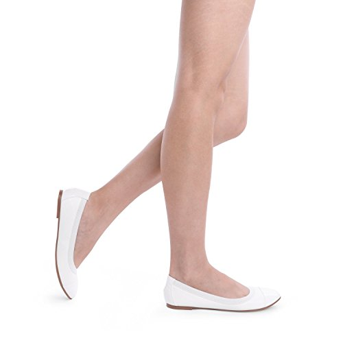 Flats Women's White Ballerina Flex Sole DREAM PAIRS Shoes Walking ZqYpxw