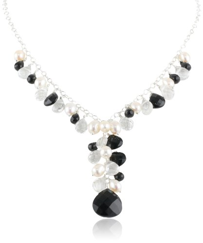 Sterling Silver Genuine Faceted Black Onyx Briolette's White Freshwater Cultured