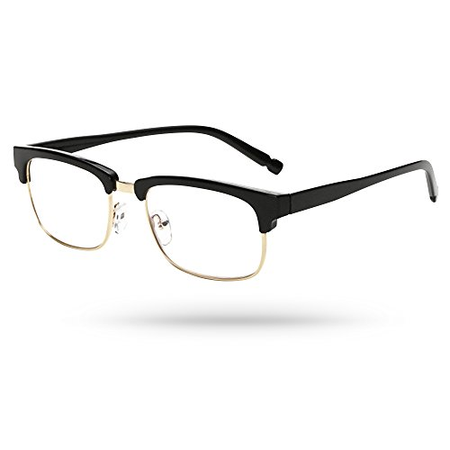 Designer Clubmaster Optics Gold-filled Low Rim Unisex Reading Eyeglasses in Black - Stores In Mall Dartmouth
