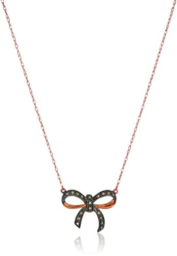 Diamond Bow Pendant Necklace (10k Rose Gold Brown Diamond Bow Pendant Necklace ( .05 cttw, H-I Color, I2-I3 Clarity), 17