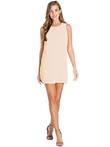 - Design by Olivia Women's Boat Neck Sleeveless Back Zipper Attached Audrey Shift Dress Cream L