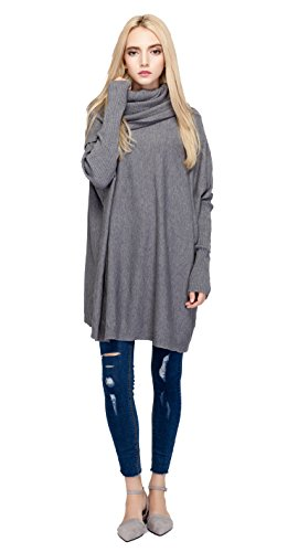 [Women's Turtleneck Knit Long Sleeve Oversized Loose Pullover Sweater Shirt Tops Grey] (Sweaters Sale Cable Turtleneck Sweater)