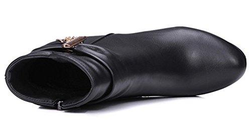 Idifu Donna Sexy Piattaforma Sospesa Zip Laterale Stivaletti Tacco Alto Stivaletti Neri