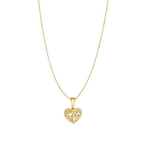 14kt Yellow Gold 11mm Textured+Pave Diamond Cut Reversible Heart Pendant on 14kt 18