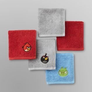 Angry Birds 5 Pack Washcloth Set