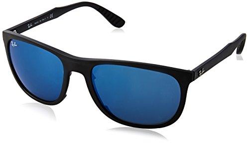 Ray-Ban lunettes de soleil carrés classiques en miroir bleu noir mat RB4291 601S55 58 Blue Mirror Matte Black