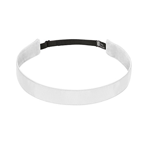 Bani Bands Women's Solid 7/8 Inch Adjustable Headband with Non-Slip Lining, White