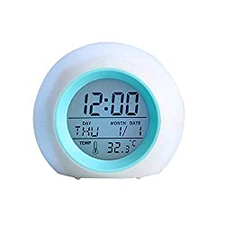 Wake Up Light Kids Alarm Clock,LED Digital Clock, 7 Colors Changing Light 6 Natural Sound - With Snooze Function for Heavy Sleepers