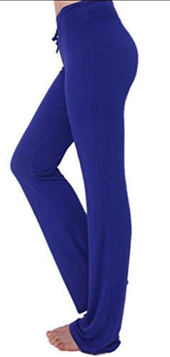 Cloudy Women's Modal Wide Leg Yoga Pants Linear Self Tie Waist, Multiple Colors Available(Dark Blue,US L/Asian XXL)