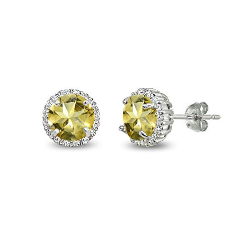 Sterling Silver Citrine & Cubic Zirconia 6mm Round-cut Halo Stud Earrings
