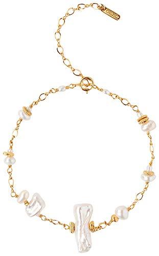 - Chan Luu 18K Gold Plated White Keshi Freshwater Cultured Pearl Chain Bracelet