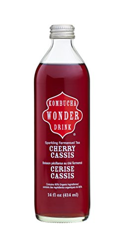 Kombucha Wonder Drink Cherry Cassis Sparkling Fermented Tea, 14 oz