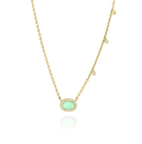 (PAVOI 14K Yellow Gold Plated Oval Shape Created Green Opal Necklace)