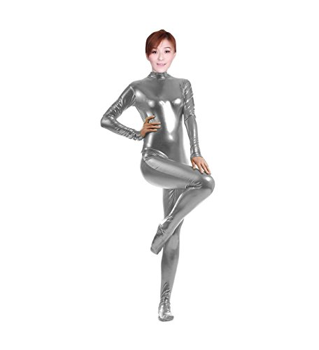 WOLF UNITARD Shiny Metallic Unitard Catsuit Dancewear Medium Grey (H And M Fancy Dress)