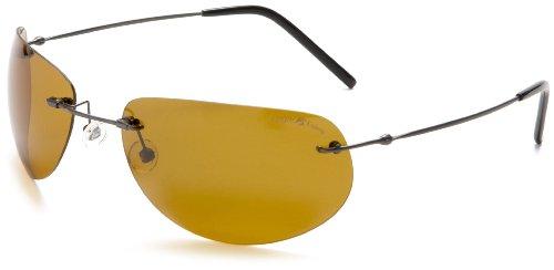 Eagle Eyes UltraLite Titanium Elipsys Sunglasses,Gunmetal Frame/Gold Brown Lens,one - Titanium Frame Sunglasses