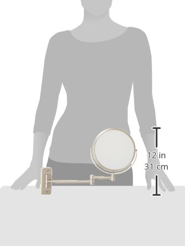 Jerdon JP7506N 8-Inch Wall Mount Makeup Mirror with 5x Magnification, Nickel Finish by Jerdon (Image #2)