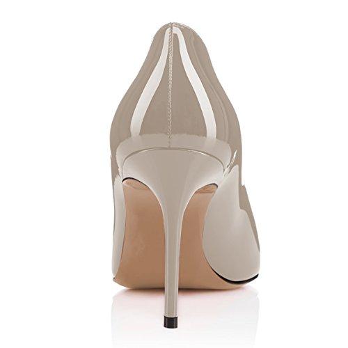 Fsj Women Formali Tacco Alto Pompe Chiudi Slip On Business Shoes Per Signora Da Ufficio Formato 4-15 Us Grigio-10 Cm