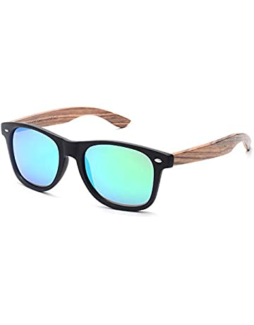 7036c656a6e SKADINO Clubmaster Beech Wood Sunglasses with Polarized Lens-Black Ebony  with Grey Lens SKD204