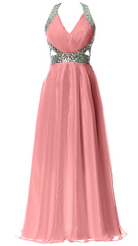 MACloth Women Halter V Neck Long Homecoming Dress Wedding Party Formal Ball Gown Blush Pink