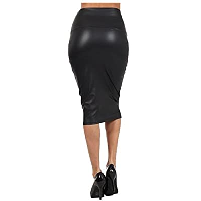 Queenfashion Women's Below Knee Stretch Skinny Faux Leather, Black, Size Medium at Women's Clothing store