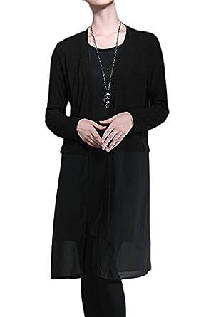 Amazon.com: Women's Long Sleeve Patchwork Sweater Coat Black One ...
