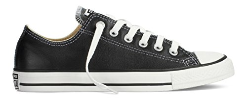 Converse Unisex Chuck Taylor All Star Low Top Leather Black Sneaker - 8 Men - 10 Women (Shoes Converse Leather Black)