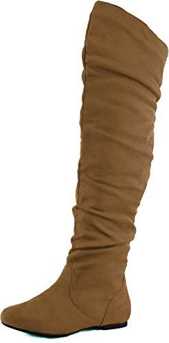 - Nature Breeze Women's Vickie Hi Slouchy Over The Knee Boots,8 B(M) US,Camel Suede