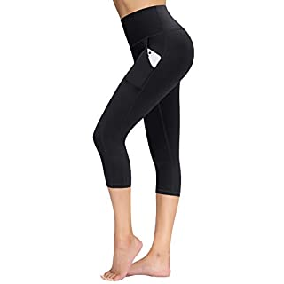 TQD High Waist Yoga Pants with Pocket, Yoga Capris for Women, 4 Way Stretch Capri Leggings Workout Pants (Black, Size L)