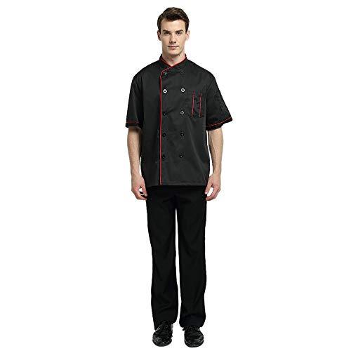 TopTie Unisex Short Sleeve Chef Coat Jacket, Black with Red by TopTie (Image #2)