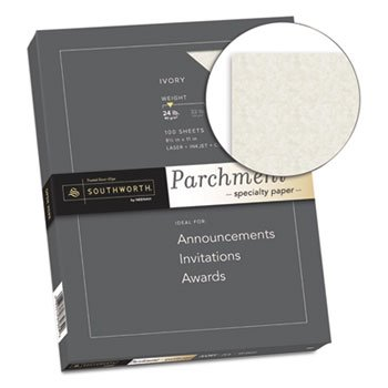 (Southworth Parchment Specialty Paper, Ivory, 24lb, 8 1/2 X 11, 100 Sheets)