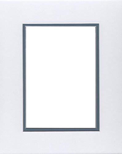 Pack of (2) 20x24 Double Acid Free White Core Picture Mats Cut for 16x20 Pictures in White and Slate Blue