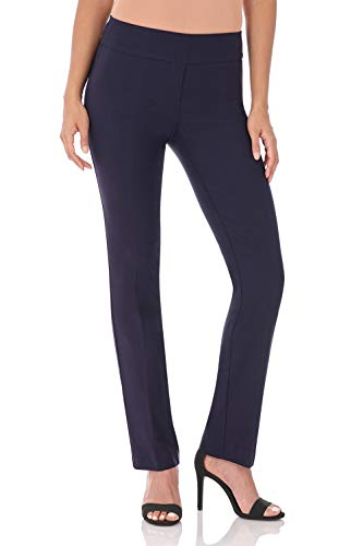 Rekucci Women's Ease in to Comfort Straight Leg Pant with Tummy Control (10,Navy)