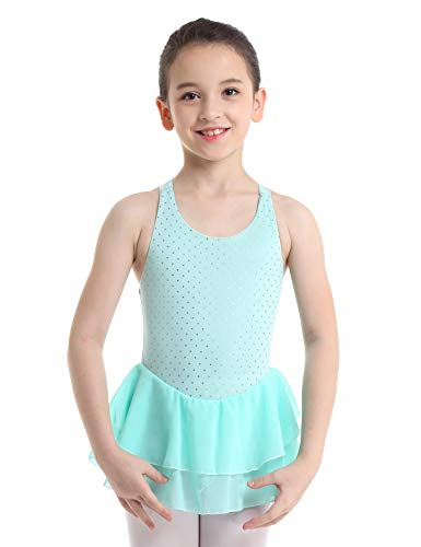 db74ce099cf9 FEESHOW Girls Cross Back Figure Ice Skating Dress Gymnastic Leotard Ballet  Dance Dresses Light Green 8