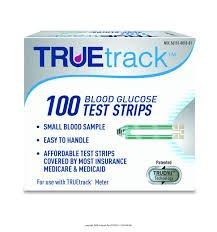 TRUEtrack Blood Glucose Test Strips, 100-Count, Truetrack Test Strips 100Ct, (1 BOX, 100 EACH)