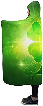 Zemivs Couverture à Capuche St Patricks Day Couverture Verte Noire 60x50 Pouces Comfotable Wrap à Capuche