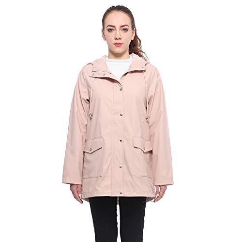 Rokka&Rolla Women's Lightweight Waterproof Hooded Rubberized Rain Jacket Windbreaker Raincoat Parka Anorak ()