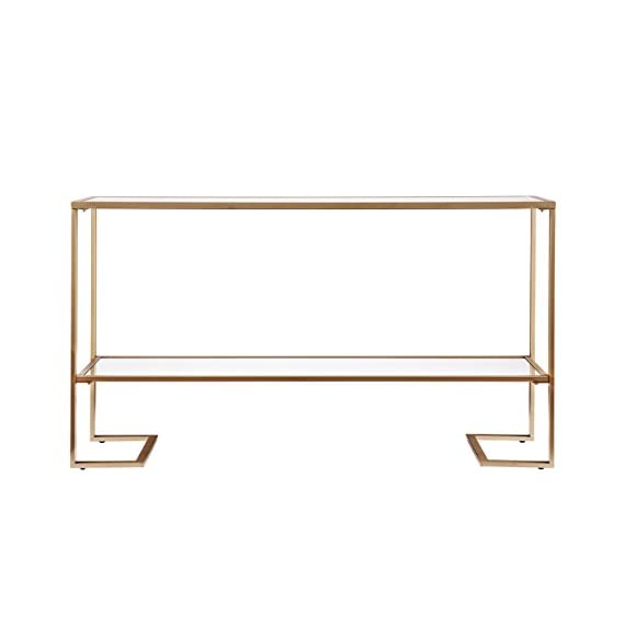Metal Skinny Console Table - Slim Profile w/Mirror Top (52x29) -  - living-room-furniture, living-room, console-tables - 31B6eCsP0fL. SS570  -