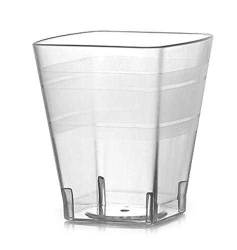 Two Setting Piece 18k - Fineline Settings Wavetrends Clear Square 2 oz. Shot Glass. 18 Pieces