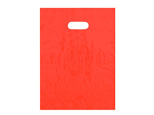 9x12 Orange Die Cut Handle Plastic Shopping Bags 100/cs - Bags Direct Brand (12x12 Paper Die Cut)