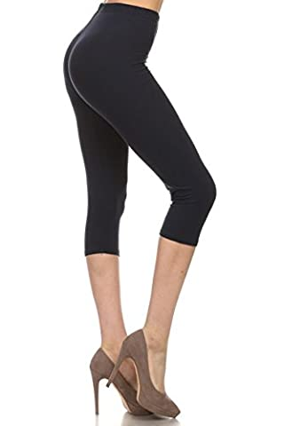 Leggings Depot Women's Popular Capri Cropped REGULAR and PLUS Printed High Waist Leggings Batch3 (Regular (Size 0-12), Solid Black)