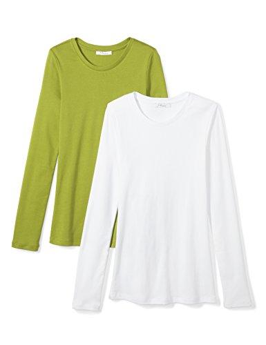 Amazon Brand - Daily Ritual Women's Midweight 100% Supima Cotton Rib Knit Long-Sleeve Crew Neck T-Shirt, 2-Pack, White/Woodbine Green,Large