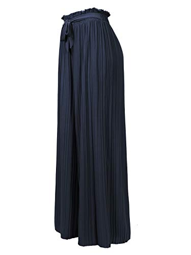 Design by Olivia Women's Ribbon Tie Chiffon Loose Pleated Wide Leg Palazzo Pants Navy Blue -