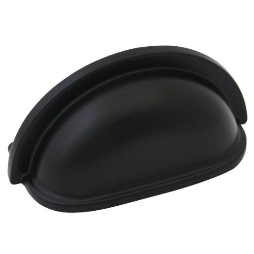 Dynasty Flat Cup - Cosmas 4310FB Flat Black Cabinet Hardware Bin Cup Drawer Handle Pull - 3