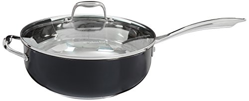 883049299150 - KitchenAid KCS60CFOB Stainless Steel 6.0-Quart Chef's Pan with Lid Cookware - Onyx Black carousel main 1