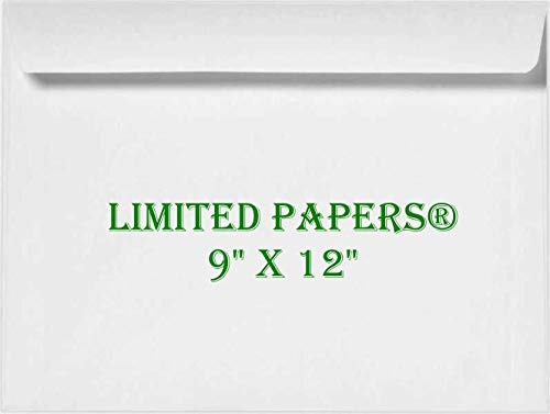 Limited Papers (TM) 9 x 12 Booklet Envelope - Open Side - 28# White - (9 x 12) - Large Envelope Series (Jumbo) (250)