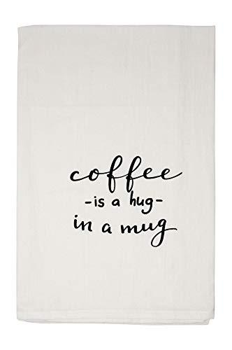 Nino and Baddow Coffee is a Hug in a Mug Funny Dishcloth Tea Towel Screen Printed Flour Sack Cotton Kitchen Table Linens