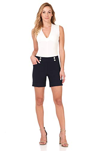 City Button - Rekucci Women's Ease Into Comfort 6 inch Cuffed Short with Button Detail (10,Navy)